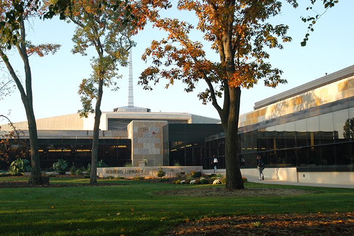 front view of hedberg library with trees